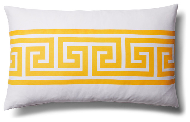 Greek Key Lumbar Home Decor Accent Pillow, Yellow transitional-decorative-pillows