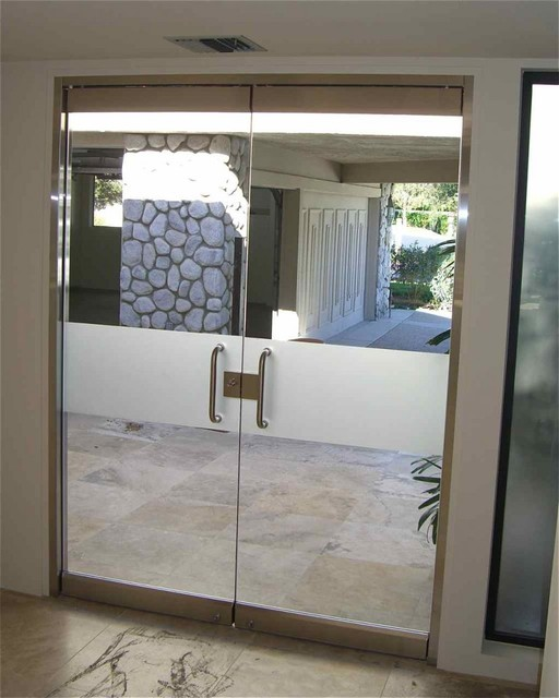 Solid Frosted Band Frameless Glass Doors Eclectic Front Doors Other Metro By Sans Soucie