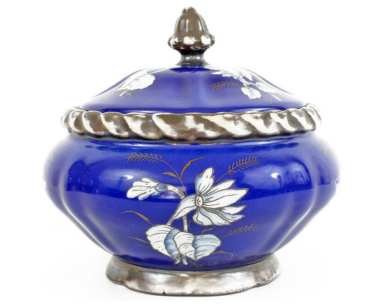 Flower Dish - Beautiful blue covered dish with hand-painted white flowers and dark gray rope trim and finial.