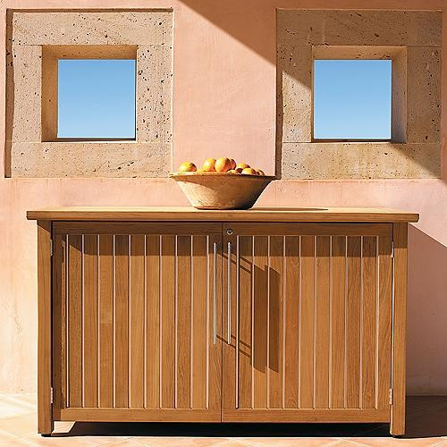 Brown Sideboard Storage Unit by Gloster - Frontgate, Patio Furniture contemporary-buffets-and-sideboards