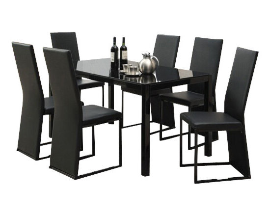 """Acme - 7-Piece Riggan V Collection Slim Back Style Black Leather-Like Dinette Set - 7-Piece Riggan V collection slim back style black leather like upholstered and Black glass top dinette set . This set features a Black glass top table with metal base and glass top , 6 - side chairs with a Black leather like upholstery. Table measures 32"""" x 55"""" . Chairs measure 39"""" H at the back. Some assembly required."""