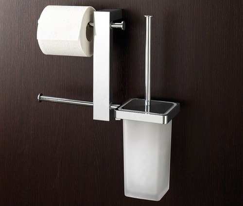 Bridge wall mounted bathroom butler with double toilet paper holder and toilet b modern for Bathroom butler toilet paper holder