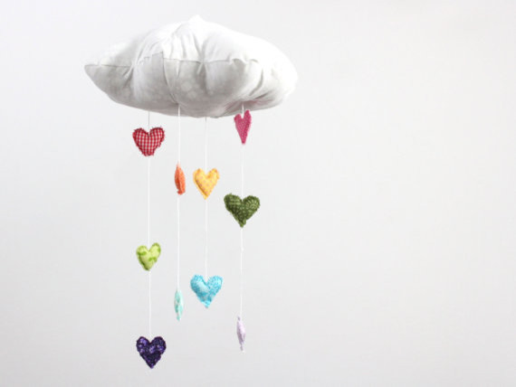 Heart Rainbow Cloud Mobile Showered by Baby Jives modern-baby-mobiles