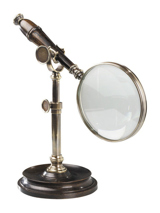 """Inviting Home - Magnifier with Stand (bronzed) - magnifier with stand in duotone bronzed finish; 7-1/8"""" x 4-1/2"""" x 9-3/4"""" This classic magnifier with stand is made of duotone bronzed brass and wood. Heavyweight stand allows free use of hands. Magnifier with stand is a classic gift for any executive."""