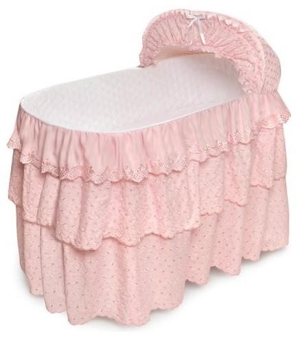 Badger Basket Pink Eyelet Three Tier Long Skirt for Jumbo Badger Bassinets traditional-cribs