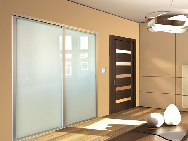 Sliding frosted glass closet doors modern new york for Sliding glass doors nyc