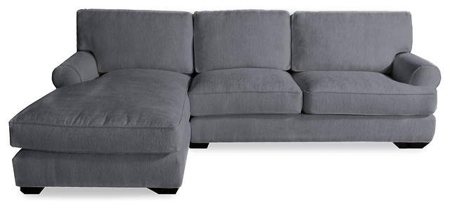 London slipcover sectional left 120quot grey transitional for Sectional sofa 120