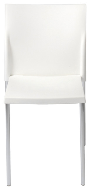 Yeva Side Chair (Set Of 2)-Wht/Chrm contemporary-dining-chairs
