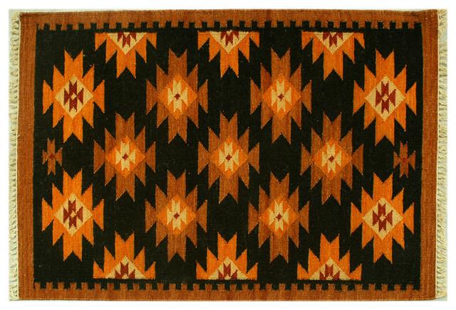 Oriental Rug 3'x5' Reversible Anatolian Kilim Hand Woven Geometric Black Sh6298 rugs