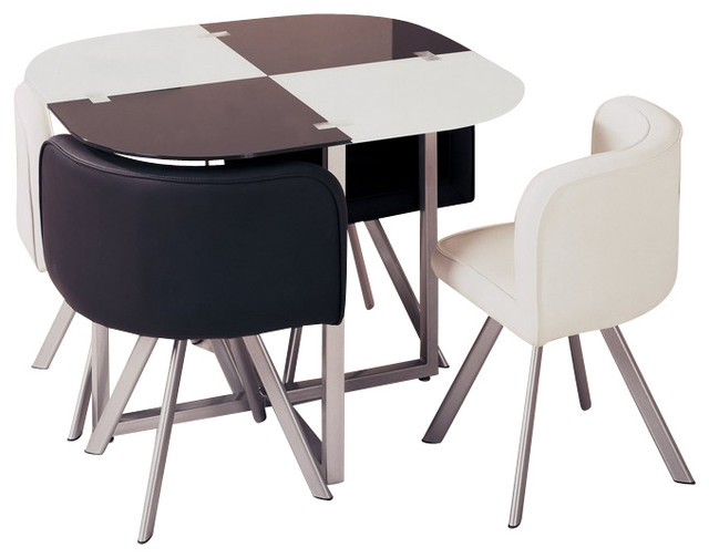 D536dt compact white black acrylic with leatherette five for Compact table and chairs set