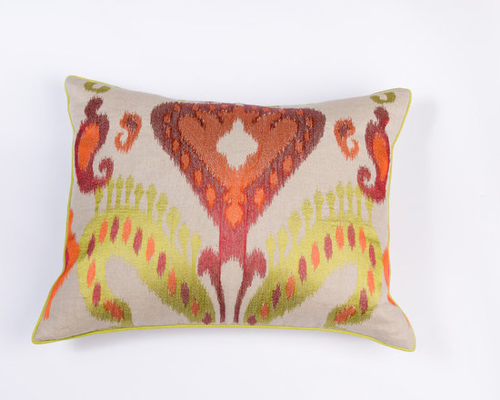 "Pillows - Add flair with beautiful suzani pattern pillow,the coordinating welt adds charm to the 20""x26"" pillow."