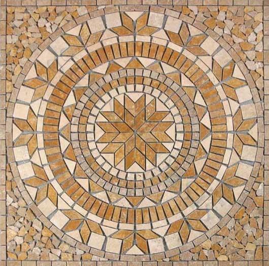 Leaf Medallion Brown Medallion Series Tumbled Stone tropical-tile