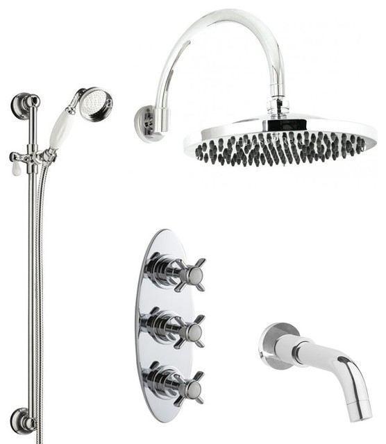 Traditional Thermostatic Shower System Chrome With Rain Head Handset & Tub Spout traditional-showerheads-and-body-sprays
