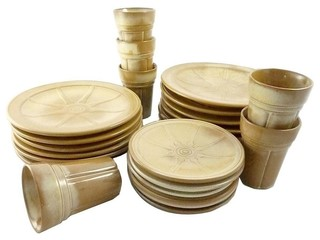 Consigned Vintage Art Pottery Dishware, Set of 24 - Rustic - Dinnerware Sets - by Moore About ...