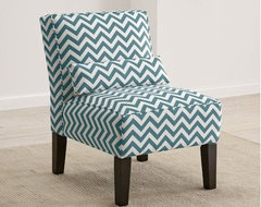 Skyline Furniture 5705 Fabric Slipper Chair, Zigzag Navy contemporary-chairs