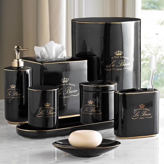 Le bain black gold porcelain bathroom accessories for Black bathroom accessories