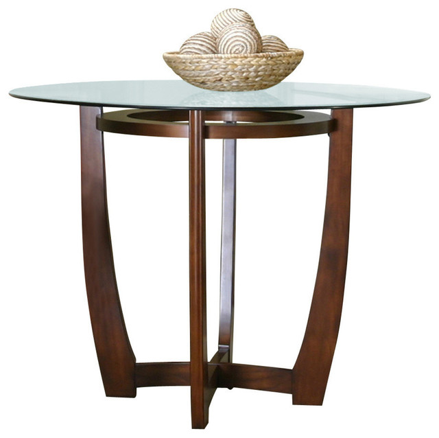 Cramco Parkwood Round Beveled Edge Glass Counter Height Table Contemporary Dining Tables