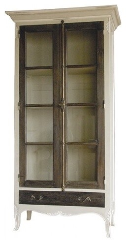 Rustic Cabinet With Glass Doors Farmhouse Accent