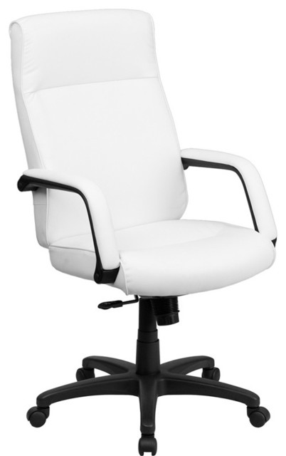 High Back White Leather Executive Office Chair with Memory Foam Padding contemporary-task-chairs