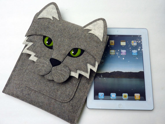iPad 2 Cat Felt Sleeve by Boutique ID eclectic home office products