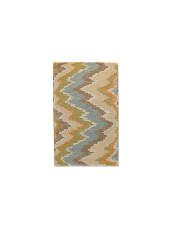"""Grandin Road - Cascade Indoor Area Rug - Neutral- and pastel-hued designer rug, woven in a flame stitch pattern. Hand tufted from a mix of soft wool and luminous artsilk. Cut construction with a 1/2""""-thick pile. Woven cotton backing. Extend the life of your rug with our Nonslip Rug Grip (sold separately). Give your floor an ultra-plush makeover with the Cascade area rug: it's impossible to resist this mix of sorbet-inspired neutrals, arranged in a designer flame stitch pattern. The plush composition of wool and artsilk makes a wonderful starting palette for your room, and since all of the hues are rooted in neutral tones, it can also fit in beautifully with a space you've already created. Select the size that fits your space and watch as your room becomes an entirely new place.  .  .  .  .  . Imported."""
