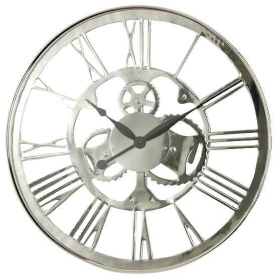 regatta polish nickel wall clock large by zodax modern