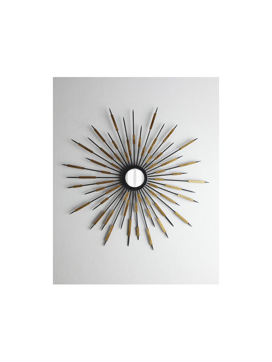"""Horchow - Zenith Accent Mirror - Starburst accent mirror radiates with golden beams at irregular intervals for a sophisticated abstract look. Made of iron and mirrored glass. 37.75""""Dia. Imported. Boxed weight, approximately 30 lbs. Please note that this item may require additiona..."""