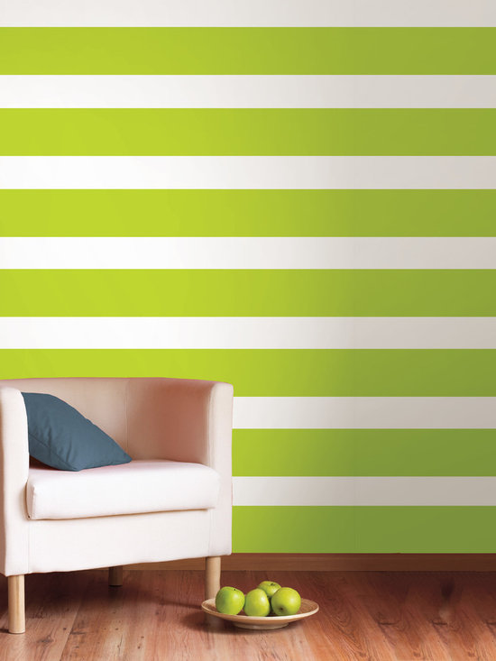 """Stylin Green Stripes Set of Wall Decals - Think chartreuse mixed with yellow for a really awesome green. This pack comes with four 6.5"""" wide Stylin Green stripes, a total of 64' long. All WallPops are repositionable and always removable."""