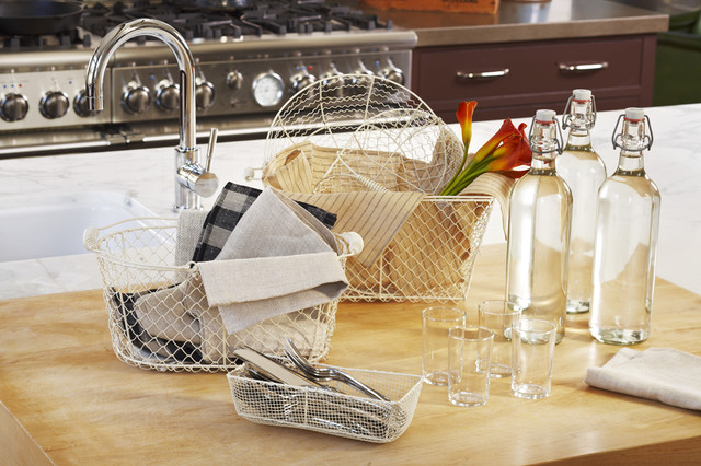 Stella Collection Wire Baskets in White traditional-kitchen-products