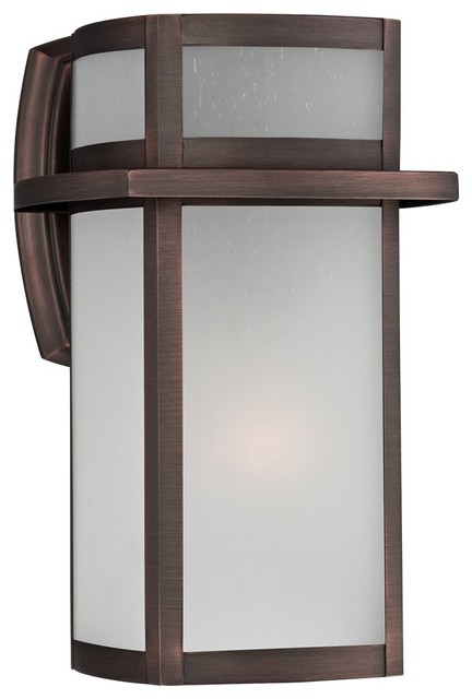 """Contemporary Bronze Frosted Glass 11 1 4"""" High Outdoor"""