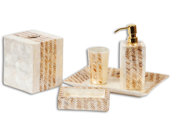 Bathroom Accessories - Instantly up the luxe factor in any bathroom with this stunning set of bathroom accessories. Crafted using the most exquisite natural materials, this bath collection shimmers with a richness not normally seen in these types of pieces. Purchase just the wastebasket, or go for the entire set to create a cohesive, spa-like feel in any bathroom.