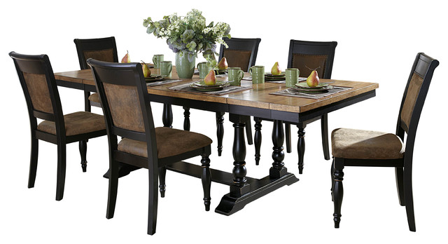 Dining Table In Two Tone Finish Transitional Dining Tables By