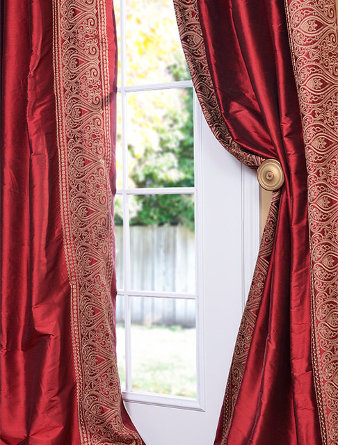 Bombay Bold Red Silk Curtain curtains