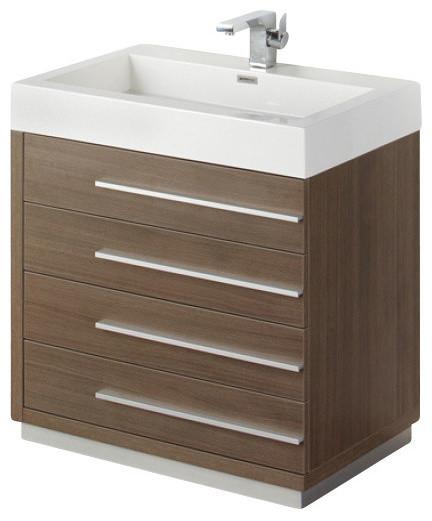 30 Inch Gray Oak Modern Bathroom Vanity Contemporary Bathroom Vanities And Sink Consoles