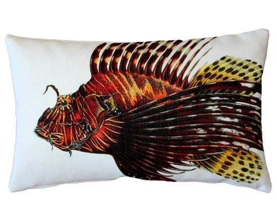 Pillow Decor - Pillow Decor - Lionfish Fish Pillow 12 x 20 - This double sided Lionfish decorative pillow is printed on both sides with the head and body of the fish on the front and the tail on the back. Printed on an indoor outdoor spun polyester fabric.