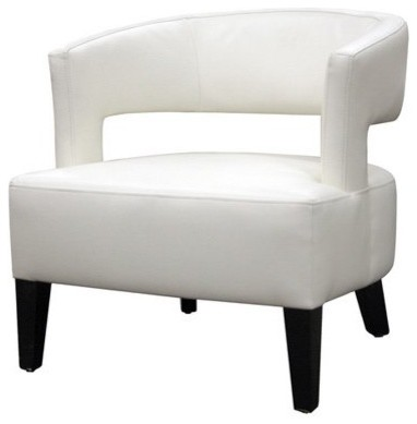 Baxton Studios Off White Leather Club Chair modern-living-room-chairs