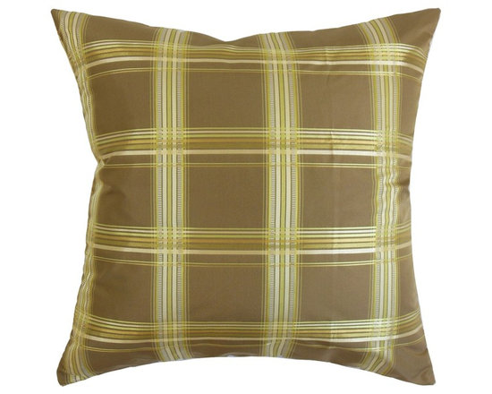 """The Pillow Collection - Quelane Plaid Pillow Brown Gold 18"""" x 18"""" - Enhance the look of your living space by adding this contemporary pillow. Lend a modern look to your interiors by placing this accent pillow in strategic locations like your living room, bedroom or guestroom. This square pillow features a classic plaid pattern with shades of brown, silver and gold accents. This throw pillow will definitely steal everyone's attention with its bold style. Made with 100% high-quality polyester fabric, which is easy to clean and maintain. Hidden zipper closure for easy cover removal.  Knife edge finish on all four sides.  Reversible pillow with the same fabric on the back side.  Spot cleaning suggested."""