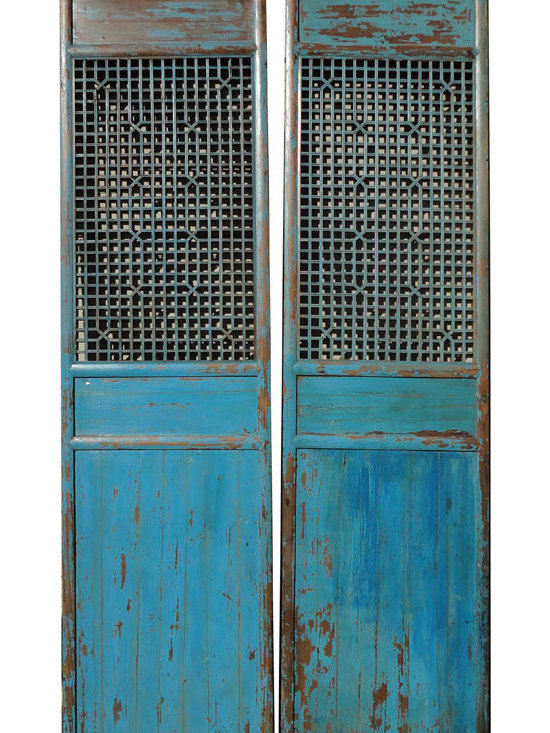 Pair Chinese Antique Tall Blue Geometry Carving Screen Panel -