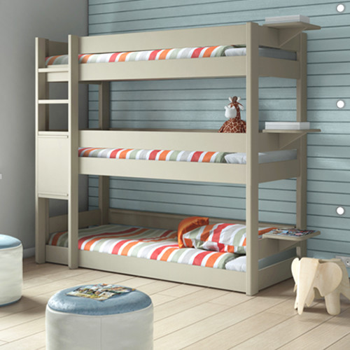 Kids bedroom 3 tier triple bunk bed bunkbed modern for Modern bunk beds for kids