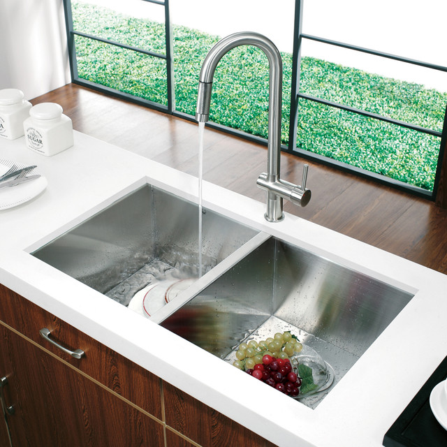 Vg14008 32 Undermount Stainless Steel Kitchen Sink And Faucet Modern Kitchen Sinks New