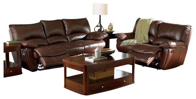Coaster Clifford 3 Piece Reclining Sofa Set in Brown Leather Match transitional-outdoor-sofas