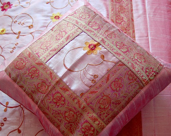Pink Embroidered Indian Bedspread Set - 5 Piece Indian Bedspread set. Pink with Floral embroidery and silk brocade border