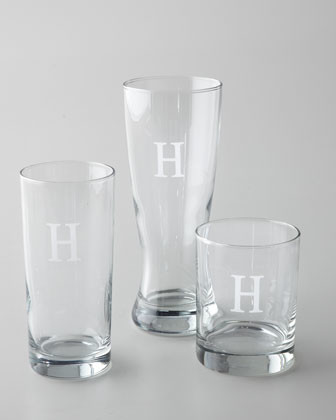 Four Monogrammed Pilsner Glasses traditional-everyday-glasses