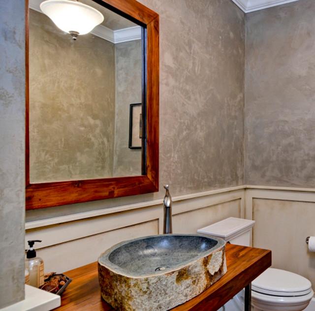 Reclaimed Stone Sink : Andesite Stone Vessel Sink, Reclaimed Teak Vanity / Mirror - Eclectic ...