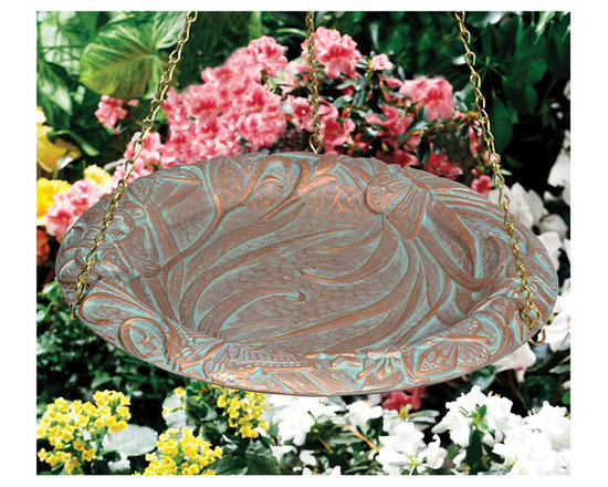 Home & Garden Accents - Give the birds something to sing about with this hanging bird bath, decorated with leaves and butterflies. Comes in a variety of finishes.