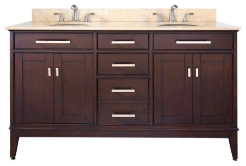Avanity Madison 60-in. Light Espresso Double Bathroom Vanity with ...