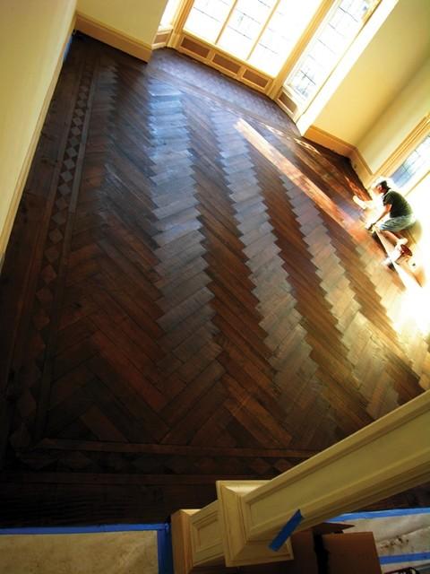Herringbone, Old World Pristine Oak, Hand Scraped, European Oil Finish hardwood-flooring