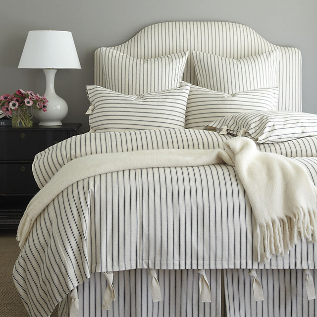 Ticking Stripe Duvet Cover Black King Traditional