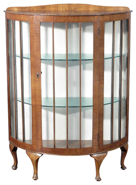 ... Anne Walnut English Curio Display Cabinet traditional-storage-cabinets