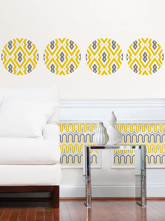 Aztec Diamond Stripe and Dots - Designer WallPops wall decals by Jonathan Adler. Aztec Diamond has a happy chic tribal motif in a sunny yellow palette.
